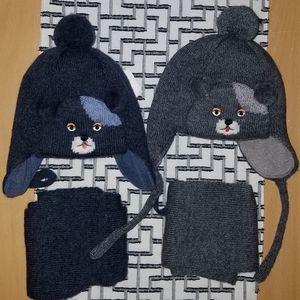 Wool kids winter hat+scarf set, teddy bear face